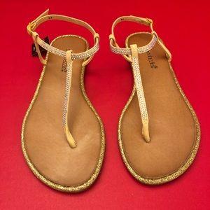 Shoedazzle Yellow Sparkle Sandals